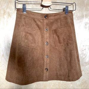 NWT A&F Faux Suede Button Mini Skirt